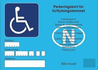 Faksimile av parkeringskort for rørslehemma